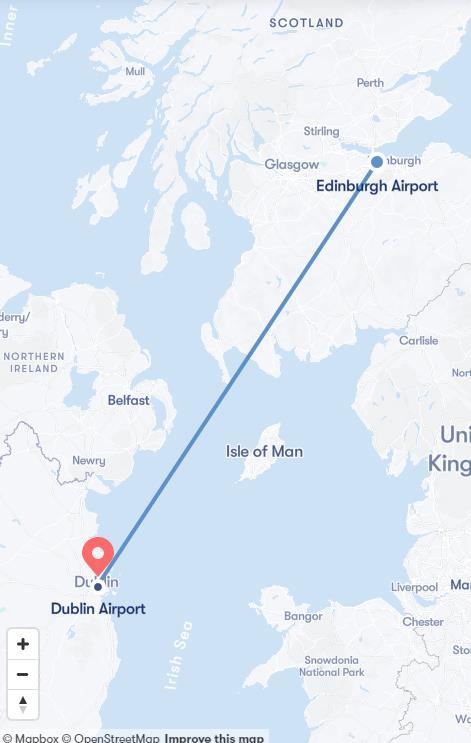 Flight from Edinburgh to Dublin
