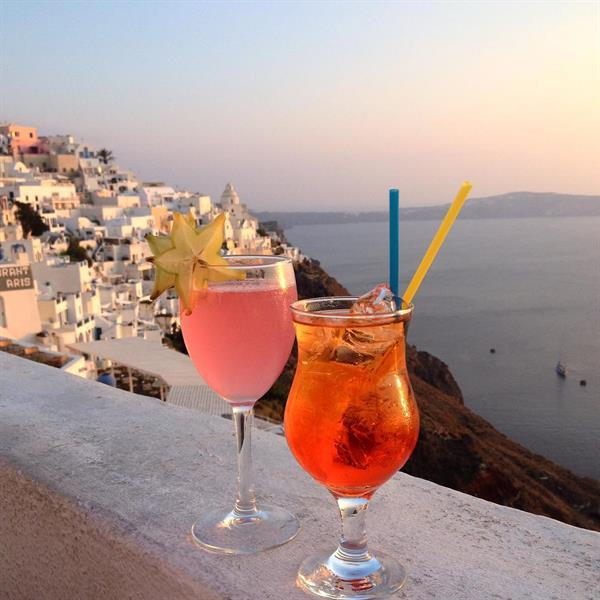 Sunset Cocktails in Santorini