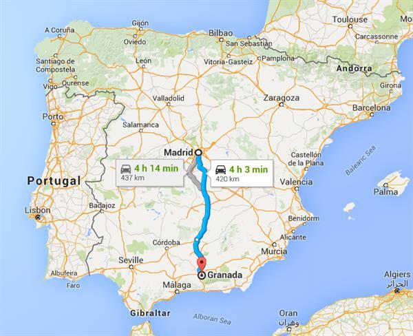 Bus: Madrid to Granada