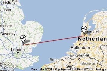Flight from Amsterdam to London.