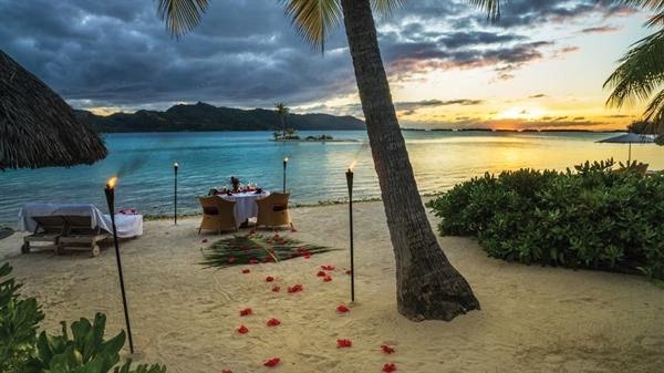 Romantic dinner on a private island