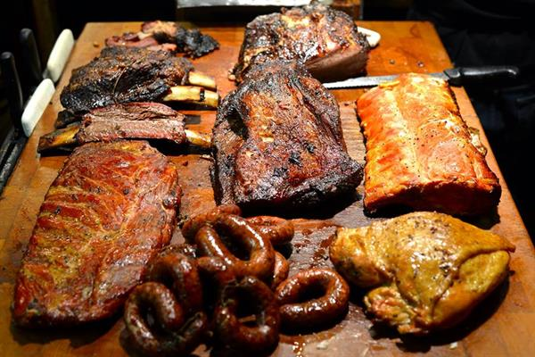 American BBQ style dinner for two at West Yellowstone, Montana.