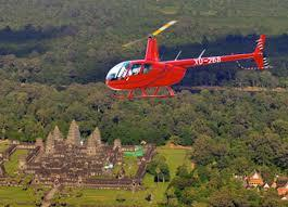 Helicopter over Angkor Wat