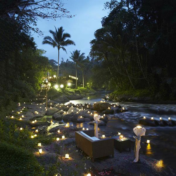 Magical 100 candle dinner by the Ayung River