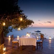 Romantic dinner for two by the water