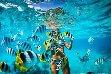 Snorkelling trip to outter lagoon on Bora Bora