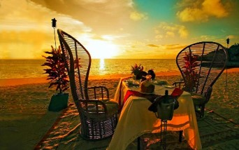 Sunset dinner on the beach for two