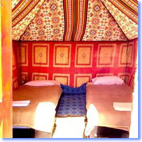 Night in a nomad tent in the Sahara desert