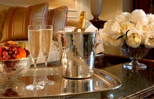 Bottle of champagne on arrival to Hotel