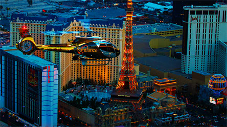 Evening Helicopter flight over The Strip