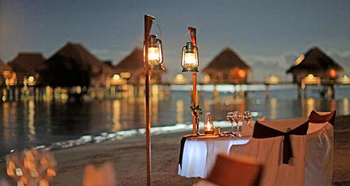 Romantic private beach dinner