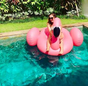 A auto pump for Sunny the Flamingo