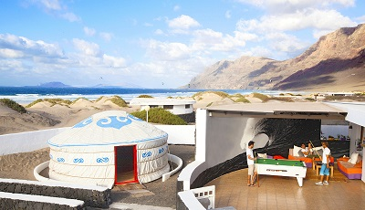 Accom at a cool surf resort on Lanzerotte Island Canary Islands