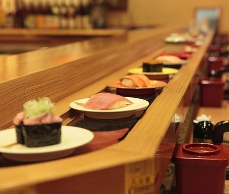 Dinner at a sushi train
