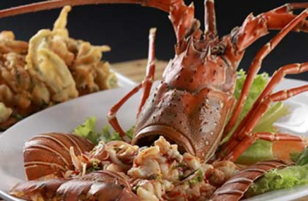 A seafood dinner at Kata Beach