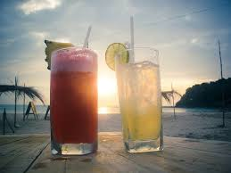 A round of drinks on the beach