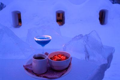 Dinner in a Snow Restaurant
