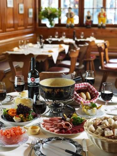 Swiss fondue lunch